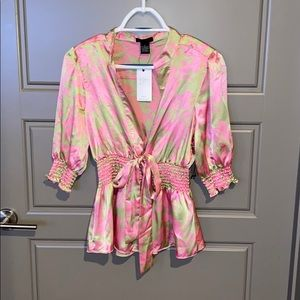 NWT BCBG Max Azria Pink & Green Tie Front Blouse